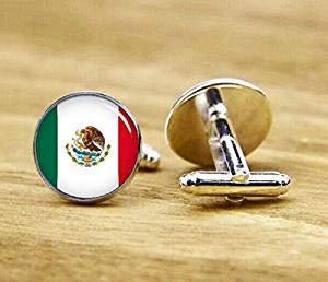 Manschettenknöpfe Flagge von Mexiko, Mexikanische Flagge, Nationalflagge, Patriot-Manschettenknöpfe, rund, quadratisch
