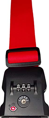 Personalised Luggage Strap TSA 3 Digit Lock - Safe Luggage 180cm x 5cm - Printed (Red TSA Lock)