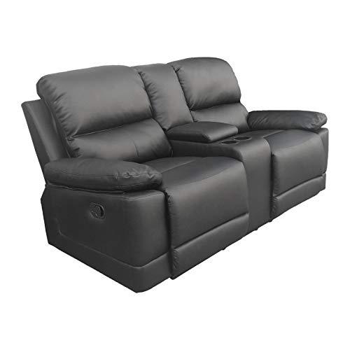 Raburg 2er Kinosessel Flix in SEIDEN-SCHWARZ - TV-Sessel mit Taschenfederkern, Getränkehalter + Verstellbarer Liege-/ Relaxfunktion, gemütlicher Zweisitzer + Doppelsitzer