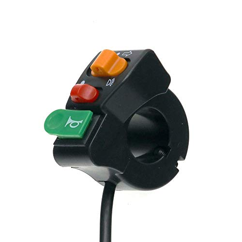 7/8 interruptor de motocicleta botón de manillar cuerno de giro cabeza de señalización de ralentí haz de interrupción (color: negro) JoinBuy.R