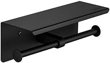 Dubbele rol toiletrolhouder met telefoonplank roestvrij staal badkamer tissuehouder wandmontage mat zwart