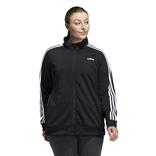 adidas Women's Essentials 3-Stripe Track Jacket, Black/White, Large