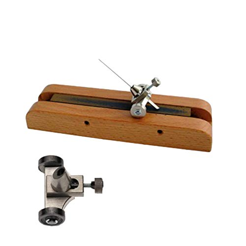 Berggeon C4546077 Schuurgereedschap voor steken, voor het handmatig slijpen van de steel, een belangrijk gereedschap voor horlogemakers, gebruik met houten sokkel en indicator