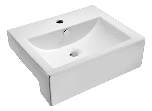 ANZZI Vitruvius Polished Glossy White Ceramic Rectangular Vessel Sink for Bathroom | Overflow Built in Vitreous Porcelain Single Bowl Bathroom Sink above Counter Top | LS-AZ116
