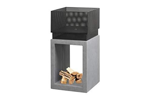 Ivyline Feuerschale, quadratisch, Tonfaser, aus Metall, 72 cm, Zement
