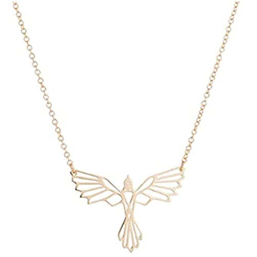 XinLuMing Collar de Phoenix Collar Geométrico Alas de Animales Flying Bird Pendant (Color : Gold)