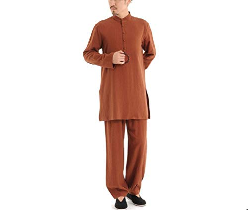 AI CHEN Ropa de algodón de lino para hombres, ropa de yoga de meditación de estilo chino, ropa de Tai Chi, traje de meditación, chaqueta de manga larga Kung Fu, trajes, camisa, ropa de uniforme