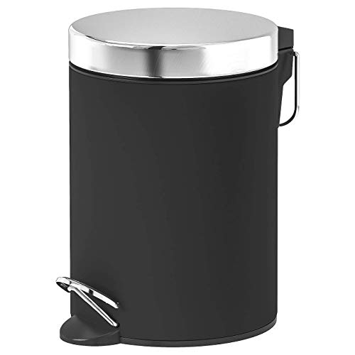 IKEA ASIA EKOLN Abfalleimer,schwarz kein Verklammern, der Deckel mit Absenkautomatik, Produktgröße Höhe: 24 cm, Durchmesser: 17 cm, Inhalt: 3 l, Material: Edelstahl, Pulverbeschichtung, PU-Lack klar