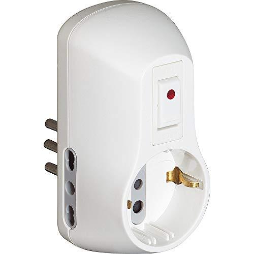 BTicino S3610DB Kit Adattatore Safe 1 Presa Standard Tedesca e 2 Prese 10A con Interruttore di Sicurezza Luminoso-Colore Bianco
