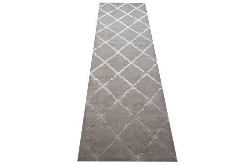 Teppich-Traum Tapis de Salon de Style scandinave Motif Losange en Gris Größe 80 x 300 cm