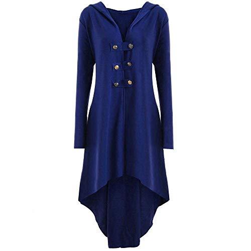 Steampunk Abrigo De Mujer De De Vestido Corsé Modernas Casual Encaje Gótico Vintage Steampunk Disfraz Elegante Esmoquin Blazer Cuello En V Blusa De Manga Larga Tops (Color : Blau, One Size : XL)