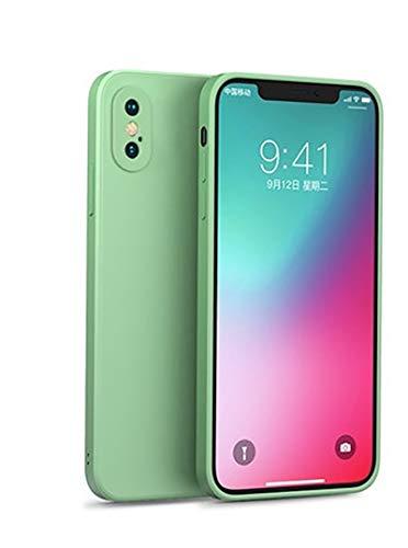 QfireQ Funda de Silicona Compatible iPhone X/XS/XS MAX Sedoso-Tacto Suave TPU Anti Huella Digital Ultra Delgado Cubierta A Prueba de Golpes con Forro de Microfibra,Verde,x