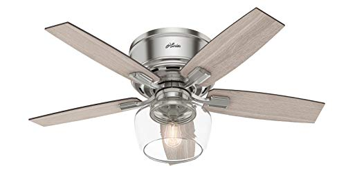 "Hunter Bennett Low Profile Indoor Ceiling Fan with LED Light and Remote Control, 44"", Brushed Nickel"