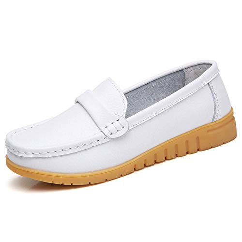 comparador GAXmi Leather Loafers Ladies Flat Mocasines Verano Primavera Otoño Blanco (Talla 40/250, 39,5 EU)