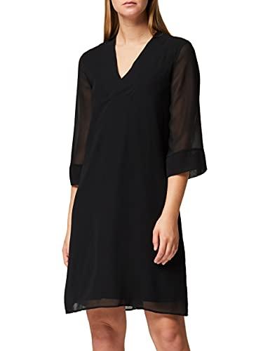 Amazon-Marke: TRUTH & FABLE Damen Midi Chiffon-Kleid mit A-Linie, Schwarz (Black), 40, Label:L