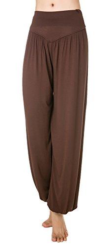 Urban CoCo Womens' Solid Color Soft Elastic Waistband Fitness Yoga Harem Pants (Large, Black)