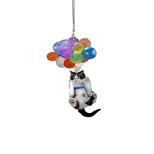 Watopia Car Cute Cat/Dog/Ship Hanging Ornament with Colorful Balloon/Parachute Hanging Pendent Decor, Creative Aerosphere Hanging Ornament Car Interior Decoration Gift (1pc, Cat-04)
