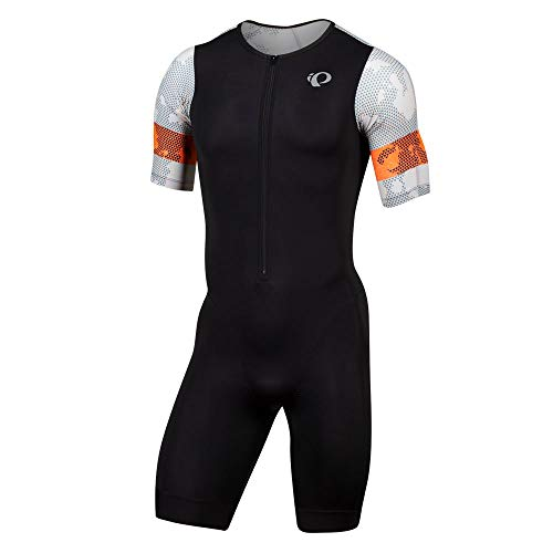 PEARL IZUMI Men's Elite Tri Speed Suit, Black/Screaming Orange Pulse, XL