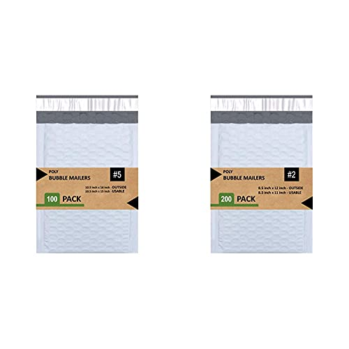 Sales4Less 5 Poly Bubble Mailers 10.5X16 Inches Padded Envelope Mailer Waterproof Pack of 100 , White & 2 Poly Bubble Mailers 8.5X12 inches Padded Envelope Mailer Waterproof Pack of 200 , White