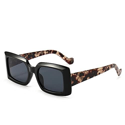 XDOUBAO Gafas Coloridas Gafas de sol MODERNA PERSONALIDAD PEQUEÑO MARCO HOMBRE Y LADAS STREET SOBRE DE MODA GAFIOS DE SOL-Color foto_Caja negra