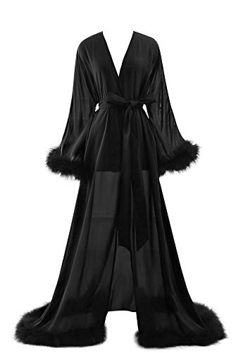 Molisa Women's Sexy Robe Feather Lingerie Robe Long Wedding Scarf Illusion Nightgown Bathrobe Feather Bridal Robe Black L/XL