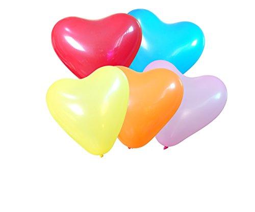 100 Ballon Gonflable Coeur d'amour Multicolore Diamètre de 30cm Déco pour Anniversaire Fête Mariage Enfant