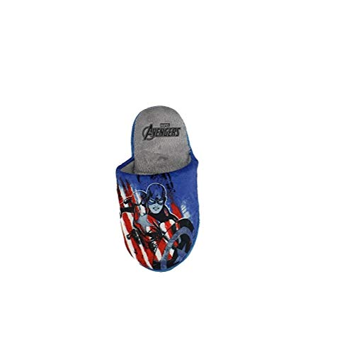Takestop® - Zapatillas de los Vengadores de Marvel, Capitán América, cálidas, antideslizantes, cómodas, de poliéster, para la casa, para niños, azul, rojo, de invierno Rojo Size: 28 EU