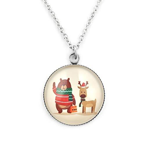 SCHMUCKZUCKER Damen Kette Lang mit Großem Anhänger Motiv Weihnachten Teddy & Elch Edelstahl Silber-Farben Beige