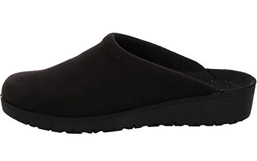 Rohde 4320 Roma Damen Pantoffeln Hausschuhe Keilabsatz, Größe:40 EU, Farbe:Schwarz