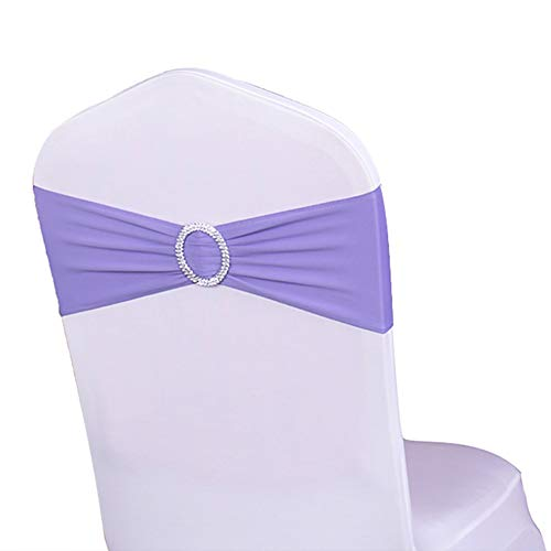 WENSINL Pack of 50 Spandex Chair Sashes for Party Decorations, Elastic Chair Bands with Buckle Slider, Chair Bows for Wedding Reception, Without White Seat Covers (Lavender