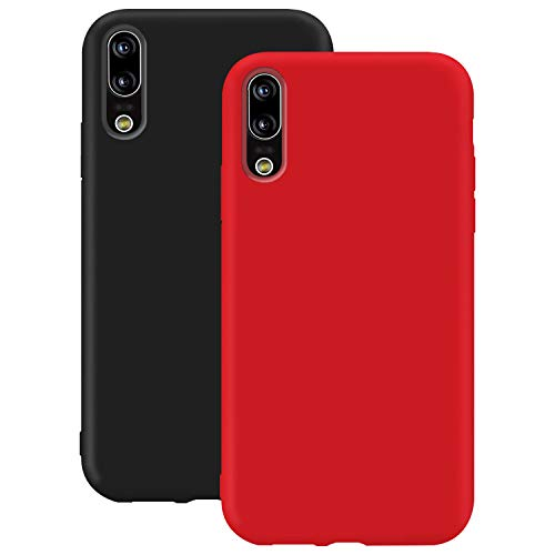 Coque en Silicone pour Huawei P20, Misstars Ultra Mince Souple TPU Gel Mat Bumper Doux Léger Anti Rayure Antichoc Housse Étui de Protection pour Huawei P20, Noir + Rouge