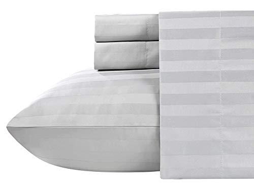 Juego de sábanas de algodón de 400 hilos, tamaño king del Reino Unido, rayas grises claras, 100% algodón de grapas largas, sábanas de algodón de satén suave con bolsillo profundo de hasta 35 cm