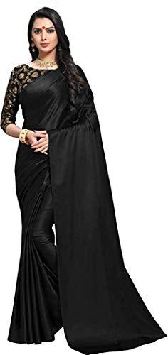 DHARMEE Women's Satin Silk Plain Saree with Jacquard Matka Print Blouse (Black)