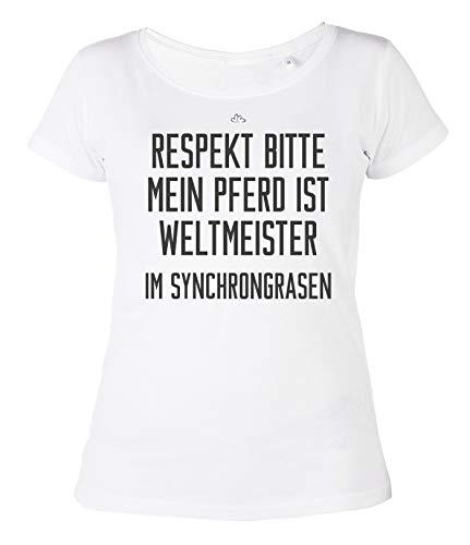 Paarden Dames T-shirt Respect Bitte Mein Pferd ist Weltkampioen Girlie shirt meisje paardenmotief paard spreuk shirt voor vrouwen