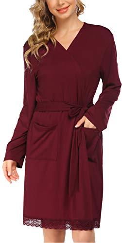 Pinspark Damen Morgenmantel Bademantel Schwangerschaft Kimono Spitzensaum Nachtmantel Spitze Nachthemd für Schwangere Kirschrot XL