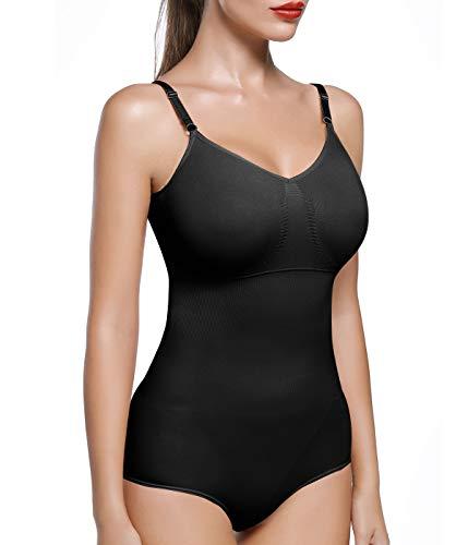 COMFREE Inintimo Modellante Body Contenitivo Donna Seamless Traspirante Shapewear Pancia Piatta Shaper Cinghie Regolabili Ttaglia L Nero