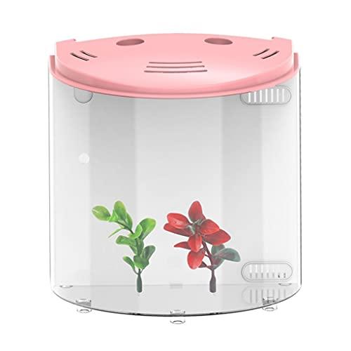 XYZMDJ 5L Tank Aquariums USB LED Demi Moon Mini Aquarium Acrylique Grande capacité Home Office de Bureau Aquatique Fish Fournitures d'animaux de Compagnie (Color : Pink)