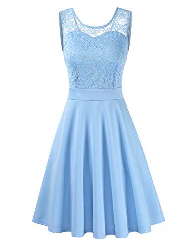 Clearlove Damen Kleider Elegant Spitzenkleid 3/4 Ärmel Cocktailkleid Rundhals Knielang Rockabilly Kleid(Verpackung MEHRWEG), Hellblau, M