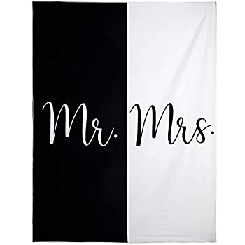 Ethisa Mr and Mrs Beach Towel - Honeymoon Just Married Towel For Beach - Wedding Gift for Newlywed Couple - Shareable Bride and Groom Towel Set - Thin Travel Friendly His and Her Beach Towel - 78 x59