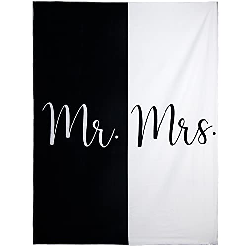 Ethisa Mr and Mrs Beach Towel - Honeymoon Just Married Towel For Beach - Wedding Gift for Newlywed Couple - Shareable Bride and Groom Towel Set - Thin Travel Friendly His and Her Beach Towel - 78'x59'