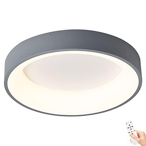 Lámpara de Techo LED Redonda para Dormitorio Luz de Techo Regulable con Mando a Distancia Luces de Techo de Hierro Moderna para Sala de Estar Estudio Oficina Luz, Modo de luz nocturna, Ø48cm