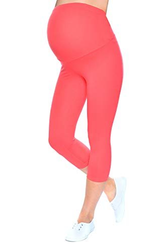 Mija - Qualität Komfortable Umstandsleggings für Schwangere Capri 3/4 Leggings 1041 (M/L, Aprikot)