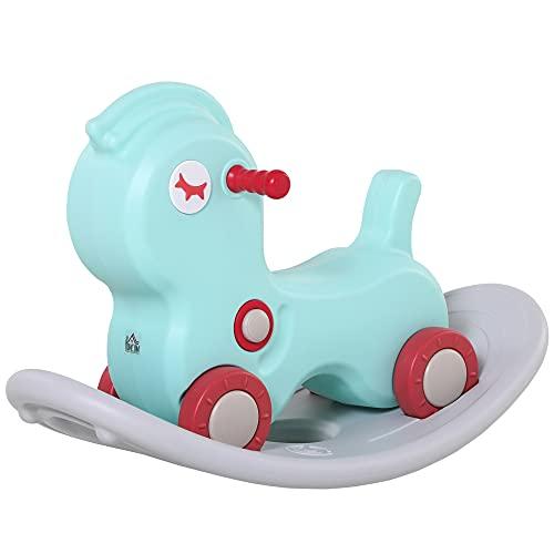 homcom Cavallo a Dondolo 2 in 1 con Ruote e Giochi Sonori, Gioco per Bambini 1-4 Anni, 78x36x47cm, Verde Chiaro e Grigio