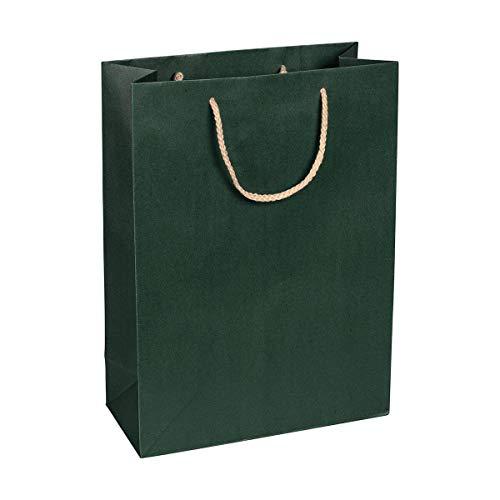 Papiertragetasche Grün, 27 x 37 x 12 cm, mit Baumwollhenkel Papiertasche, Geschenktüte Kraftpapier - 12 Stück/Pack