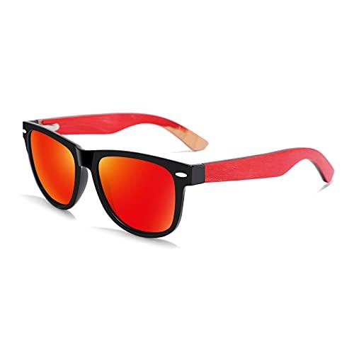 QFSLR Gafas de sol, Clásico Redondo Polarizado Gafas de sol para Hombres y Mujeres, Gafas de sol de madera, Protección Uv400,E