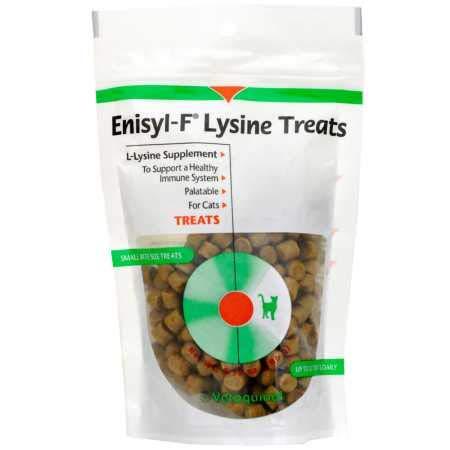 Vetoquinol Enisyl-F Lysine Bites: L-Lysine Chews for Cats & Kittens - Chicken Liver-Flavor  6.4oz (180g) Reclosable Bag