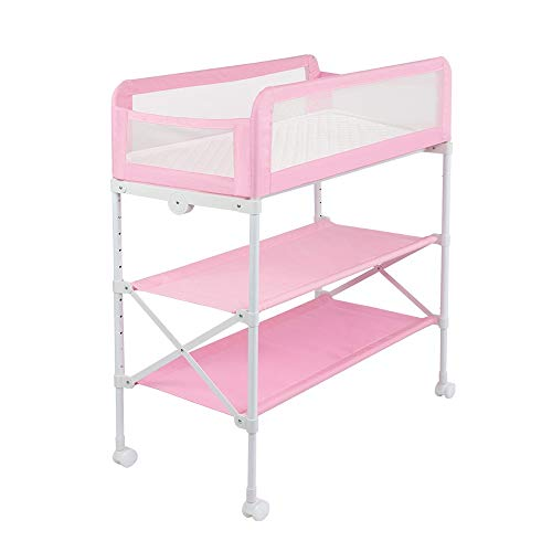 PU Pad Steel Pipe Changing Table Foldable Baby Nursery Changing Station with Infant Storage Organizers Black 73x70x96cm