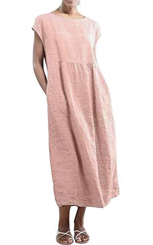 MAGIMODAC Baumwolle Leinen Kleider Tunika Sommer Damen Casual Lange Shirtkleid Kurzarm Blusekleider mit Taschen Freitzeit Strand Lang Shirt Größen 36 38 40 42 44 46 48 50 (Etikett 5XL/EU 50, rosa)