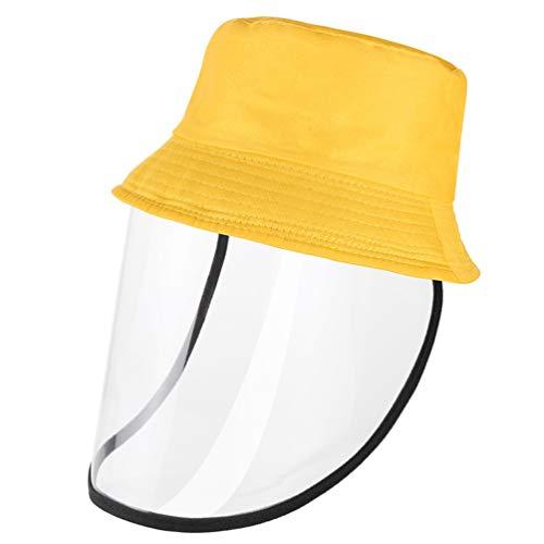 Hemoton Protector de Cara Transparente para Niños Protector de Cara Desmontable a Prueba de Salpicaduras Antiniebla Sombrero Protector de Cara para Protección Exterior (Amarillo)
