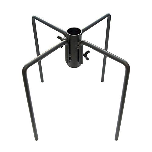 Gray Bunny Pole Stabilizer Attachment Prongs for Backyard Bird Feeding Stations with 1-Inch Thick Poles, 4 Prong (Two 2-Prong) Metal Stake Base to Support Freestanding Poles and Feeder Stands